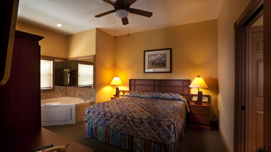 Bed in Saddle Club One-Bedroom Grand Cabin    Westgate River Ranch Resort & Rodeo   Westgate Resorts