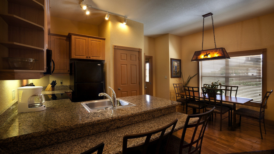Kitchen in Saddle Club One-Bedroom Grand Cabin    Westgate River Ranch Resort & Rodeo   Westgate Resorts