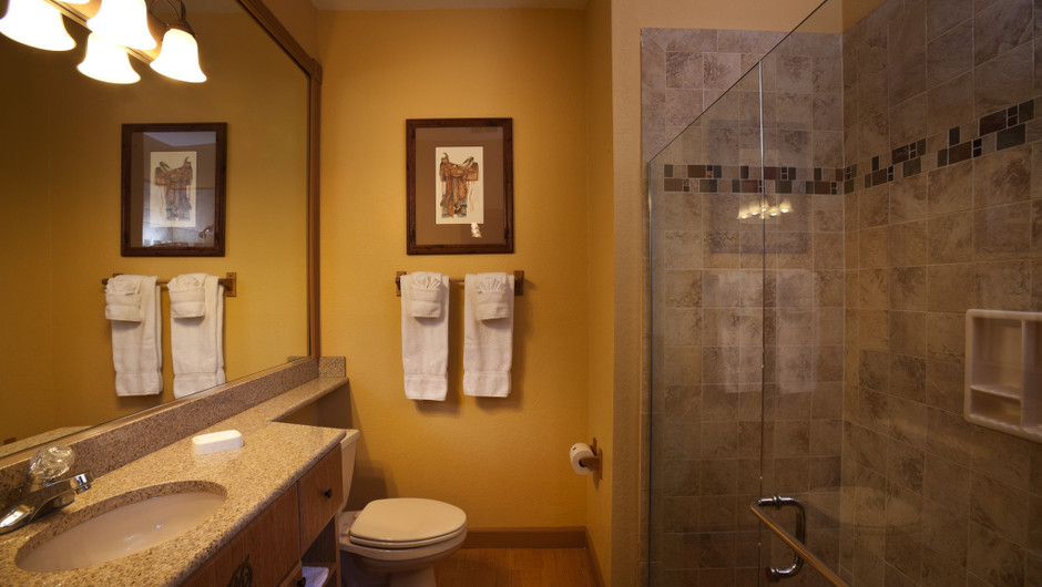 Bathroom in Saddle Club One-Bedroom Grand Cabin    Westgate River Ranch Resort & Rodeo   Westgate Resorts