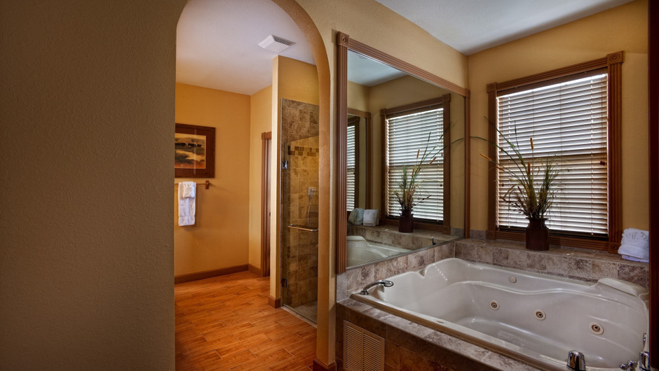Hot-tub in Saddle Club Two-Bedroom Cabin    Westgate River Ranch Resort & Rodeo   Westgate Resorts