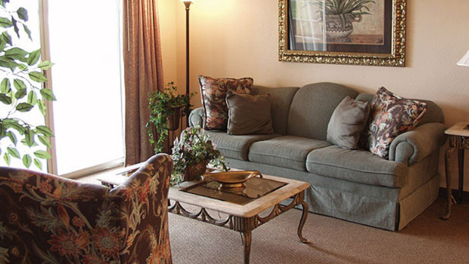 Westgate Tunica Resort one-bedroom deluxe villa living room area with queen sleeper sofa