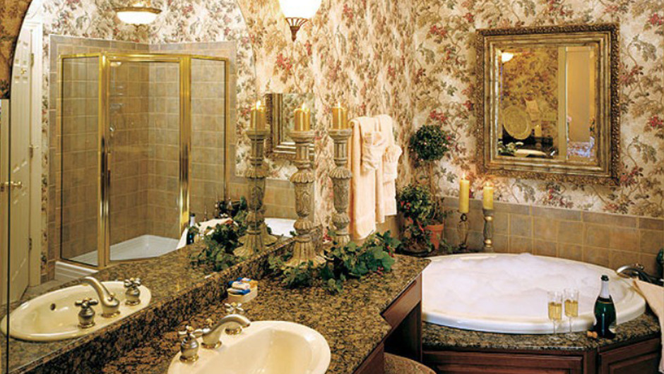 Westgate Tunica Resort one-bedroom deluxe villa private bathroom with jetted tub and stall shower