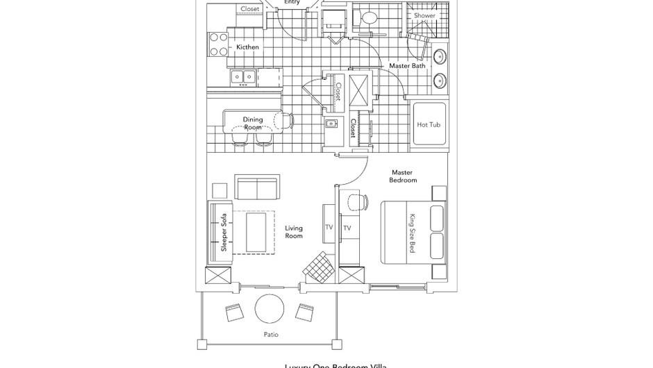 Luxury One-Bedroom Villa Floorplan at our Park City Resort in Utah | Westgate Park City Resort & Spa | Westgate Resorts