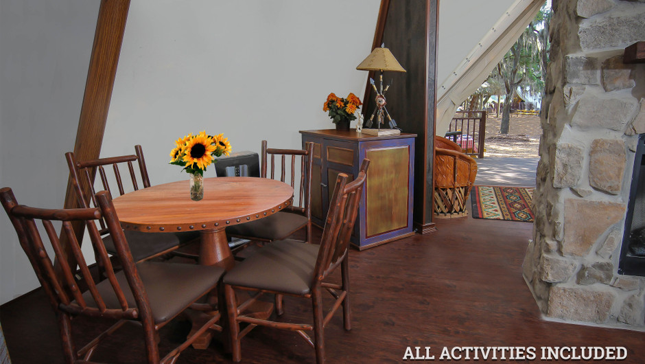 Dining Table in Luxe Teepees for Glamping |  Westgate River Ranch Resort & Rodeo | Westgate Resorts