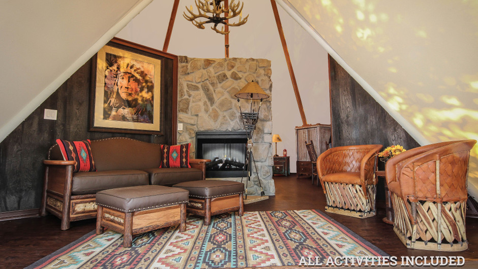 Rustic Furnishings in Luxe Teepee Accommodations    Westgate River Ranch Resort & Rodeo   Westgate Resorts