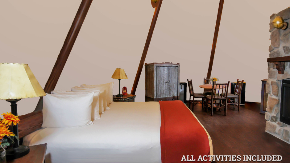 Big Bed in Luxe Teepee for Glamping |  Westgate River Ranch Resort & Rodeo | Westgate Resorts