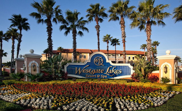 Front gate of our hotel in Orlando, FL | Orlando Florida Hotels | Resort Credit at Westgate Lakes Resort & Spa