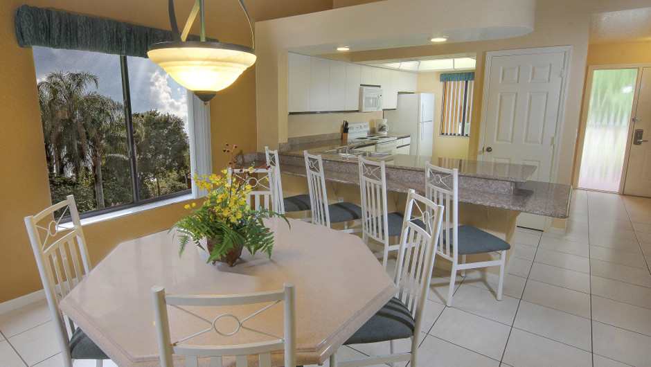 Two-Bedroom Deluxe Villa Dining and Kitchen Area | Westgate Vacation Villas Resort & Spa | Orlando, FL | Westgate Resorts