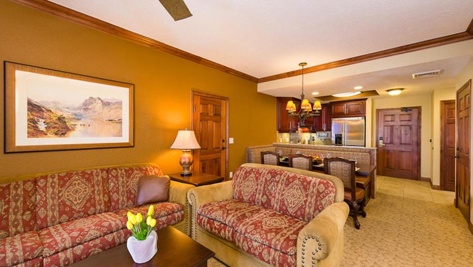 Luxury One-Bedroom Villa Living Area in our Park City Skiing Resort in Utah | Westgate Park City Resort & Spa | Westgate Ski Resorts