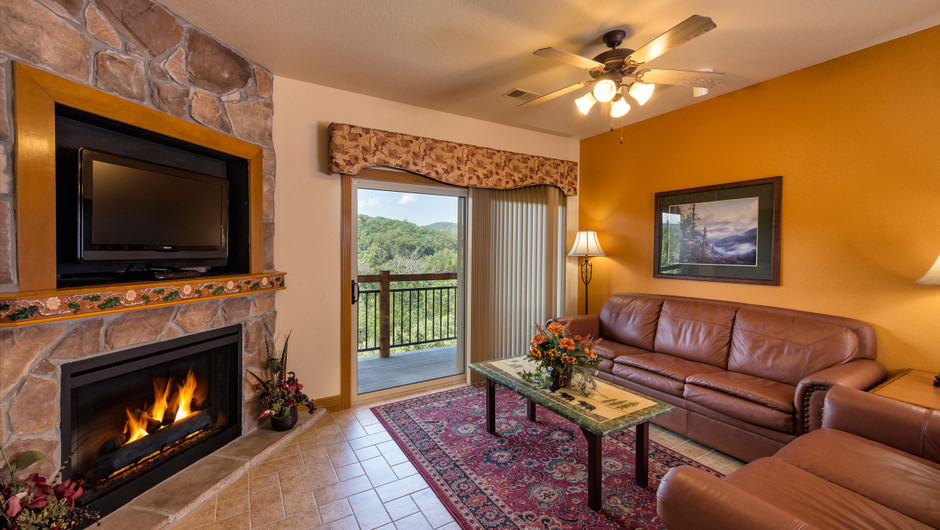 Fireplace at One-Bedroom Grand Villa in our Branson Villas | Westgate Branson Woods Resort | Westgate Resorts
