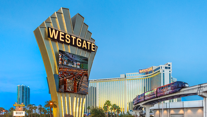 Exterior shot of Resort and Signage | Westgate Las Vegas Resort