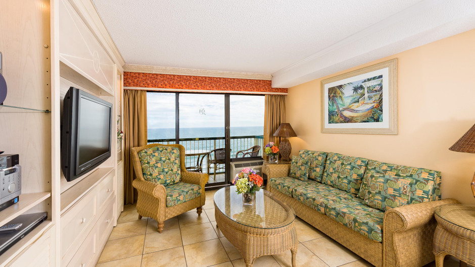 Living Area in our One-Bedroom Oceanfront Villa | Westgate Myrtle Beach Oceanfront Resort | Westgate Resorts & Condos in Myrtle Beach