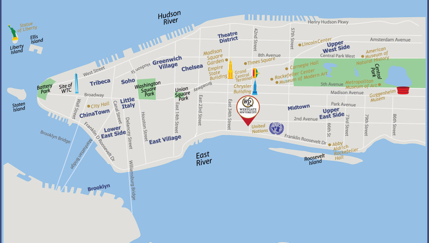 NYC Attractions & New York City Map   Westgate New York Grand Central   Best Tourist Attractions in NYC