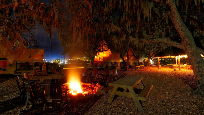 Florida Dude Ranch Resort near Orlando | Firepit Area Near Teepees