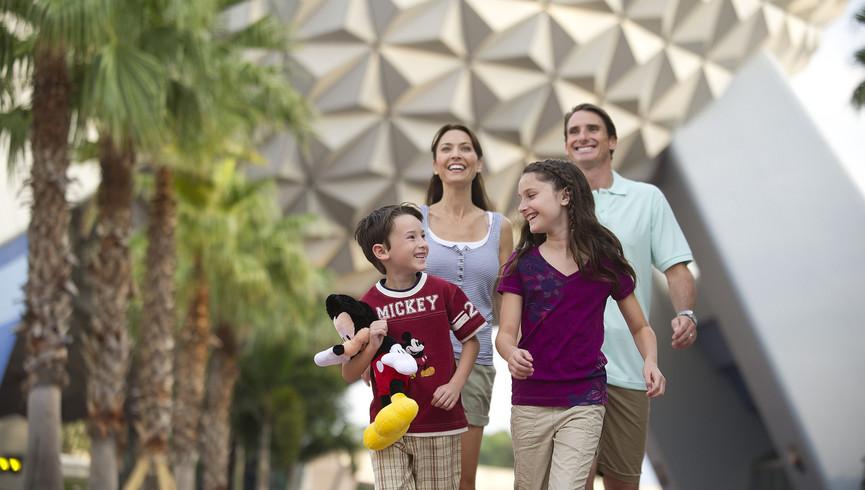 Happy Family Of Four Enjoying The Epcot Center
