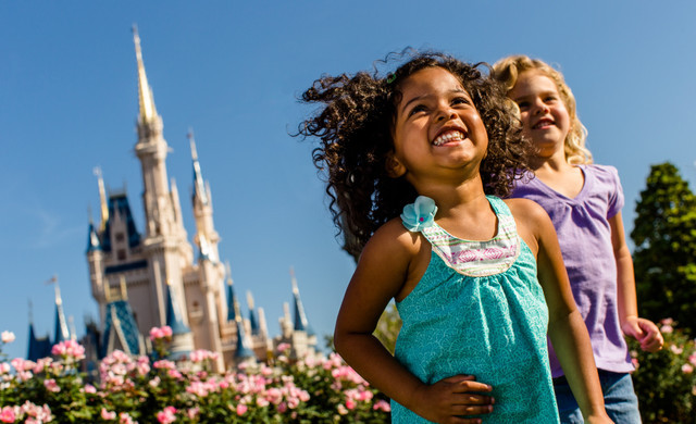Two Children Smiling At Disney World's Magic Kingdom