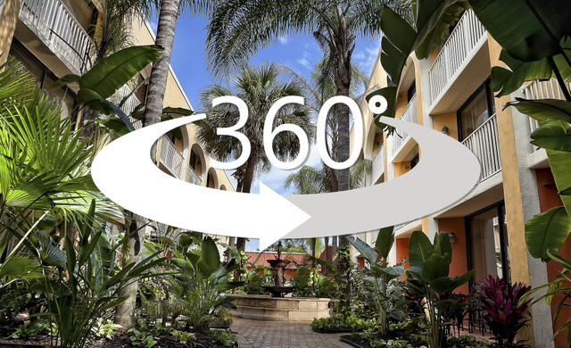 Exterior of Westgate Towers Resort with 360 virtual tour logo