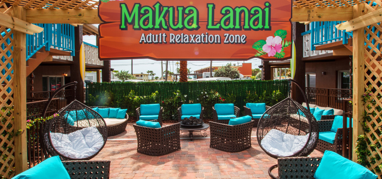 Makua Lanai at our Cocoa Beach Hotel near Westgate Cocoa Beach Pier | Adult Zone