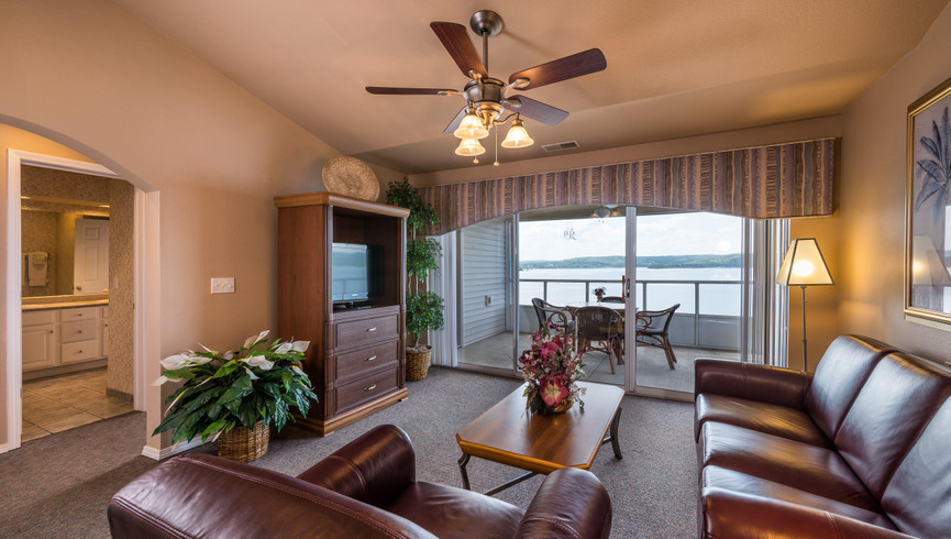 Overview Branson Table Rock Lake Resort at Emerald Pointe | Villa Living Area & Balcony