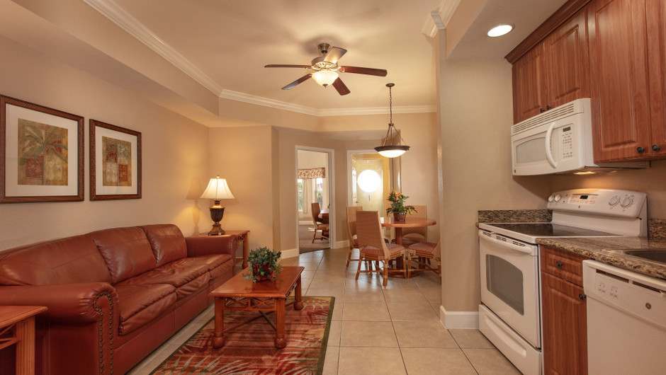 Living/Kitchen Area in our One Bedroom Deluxe Villa - Westgate Town Center Resort