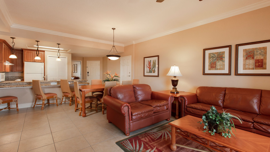 Living/Kitchen Area in our One Bedroom Grand Villa - Westgate Town Center Resort