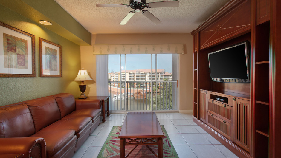 Living Area with resort views in our Four Bedroom Deluxe Villa - Westgate Town Center Resort