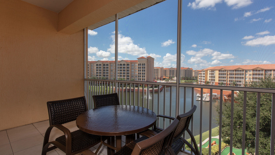 Balcony with resort views in our Four Bedroom Deluxe Villa - Westgate Town Center Resort