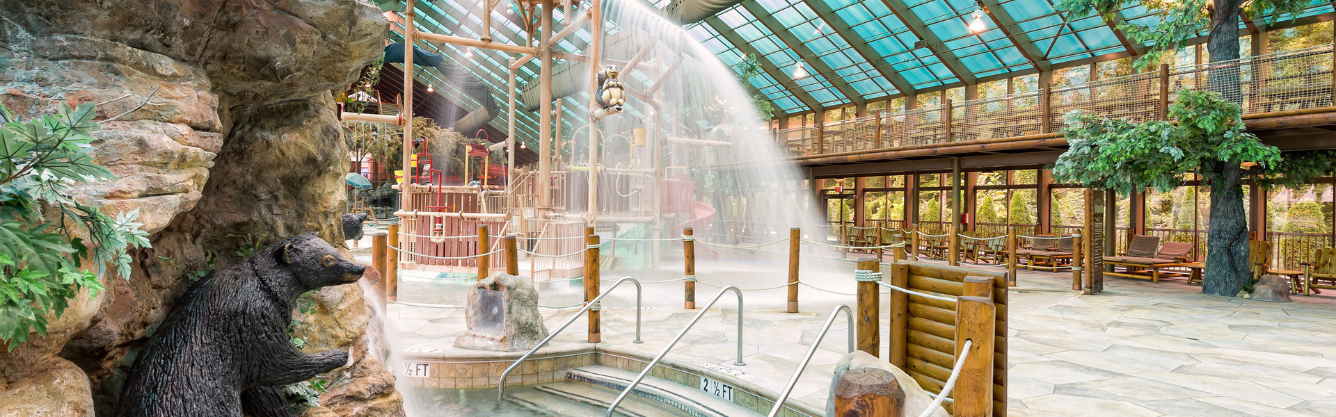 Inside our Indoor Waterpark Hotel in Gatlinburg | Menu For Wild Bear Falls Water Park | Westgate Smoky Mountain Resort & Spa
