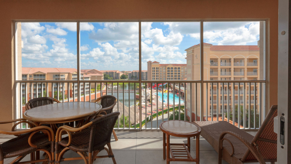 Balcony with resort views in our Four Bedroom Presidential Villa - Westgate Town Center Resort