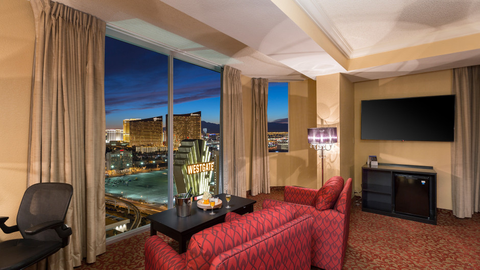 Living Area with City Views in the Vegas View Suite - Westgate Las Vegas