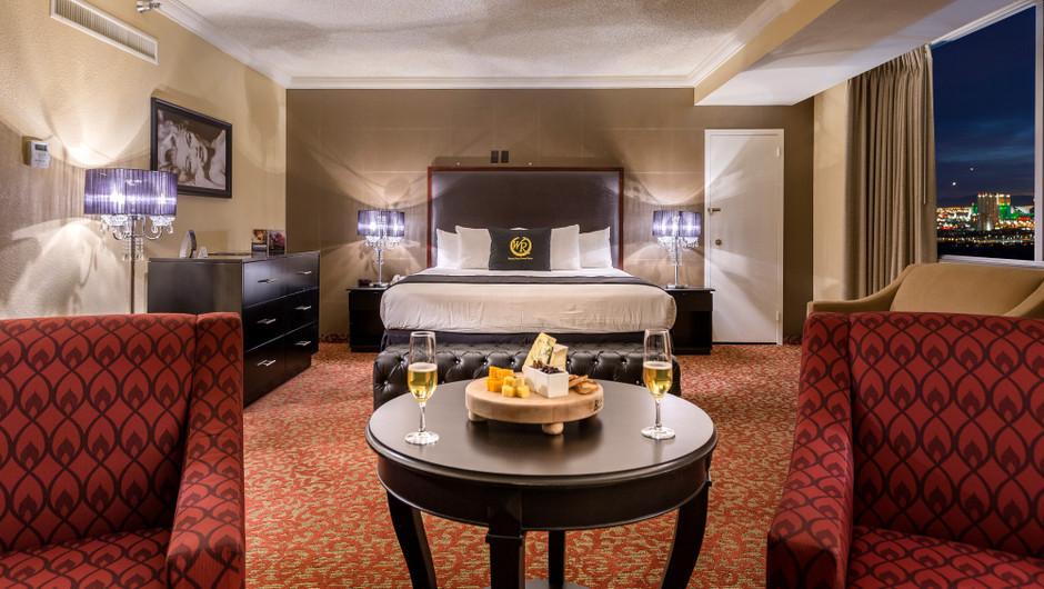 Bedroom Area with City Views  in the Vegas View Suite - Westgate Las Vegas Resort