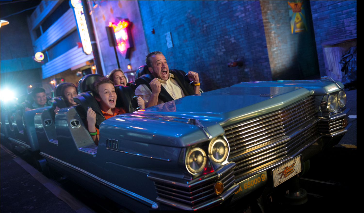 Father and son screaming on Rock 'n' Roller Coaster starring Aerosmith at Disney's Hollywood Studios