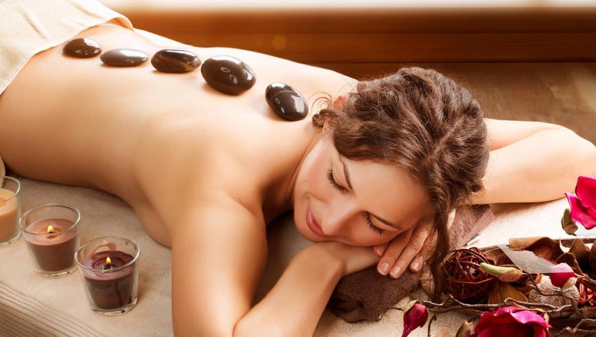 Woman getting hot stone massage - Westgate Smoky Mountain Resort