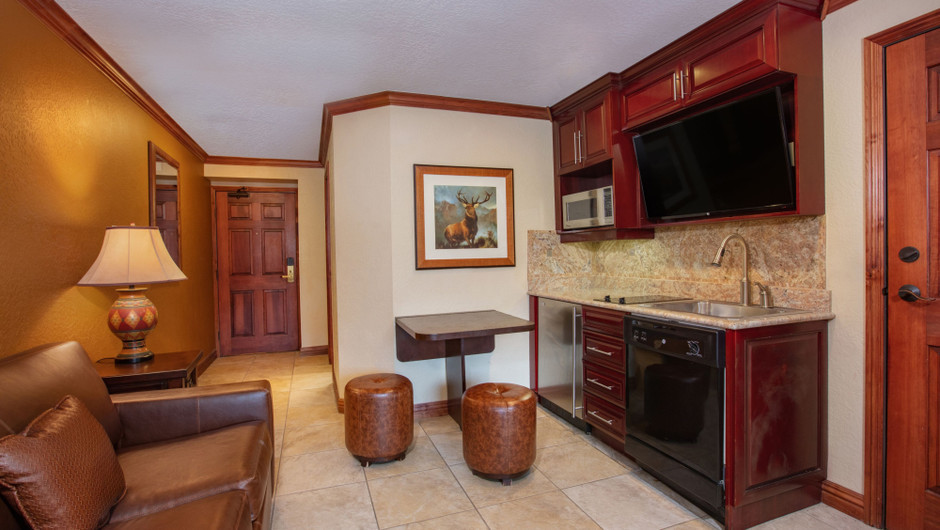 Kitchen/Living Area in our Luxury Two-Bedroom Villa - Park City Resort in Utah | Westgate Park City Resort & Spa | Westgate Resorts