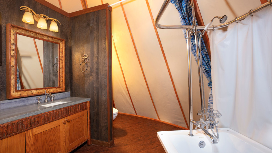 Bathroom Inside Luxe Teepee Room for Glamping | Westgate River Ranch Resort & Rodeo | Westgate Resorts