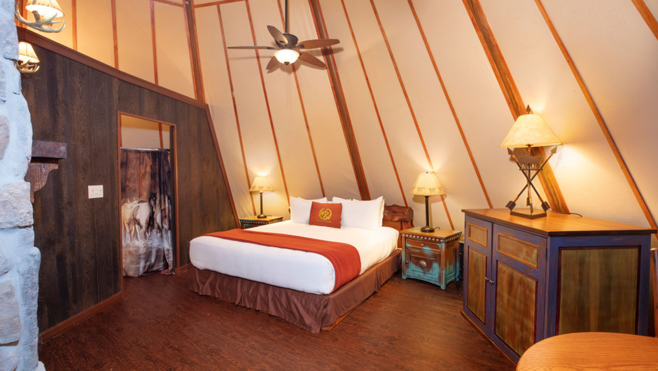 View of Bed in Luxe Teepee -  Westgate River Ranch Resort & Rodeo