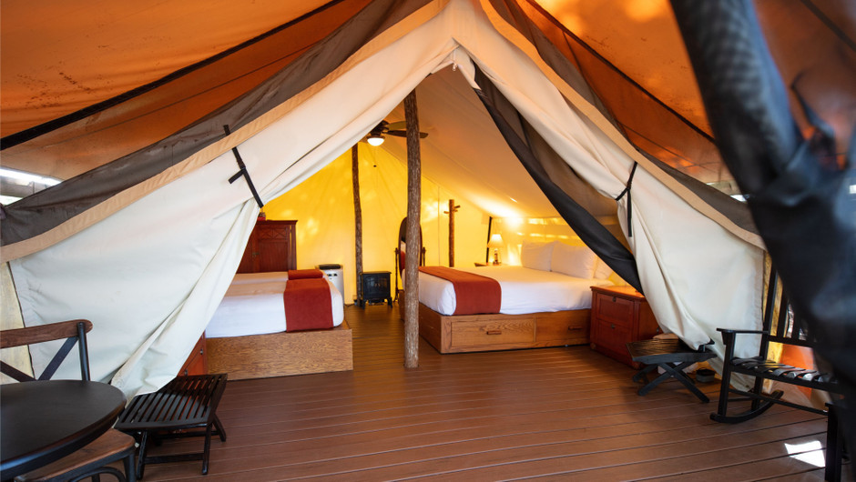Inside the Glamping tent at our glamping resorts in River Ranch Florida | Florida Glamping | Westgate River Ranch Resort