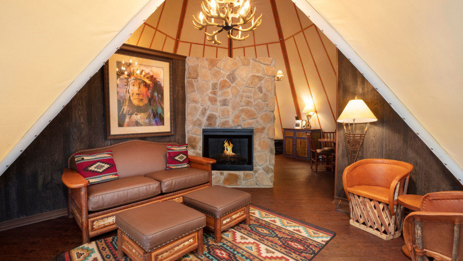 Inside of Luxe Teepee - Westgate River Ranch Resort & Rodeo