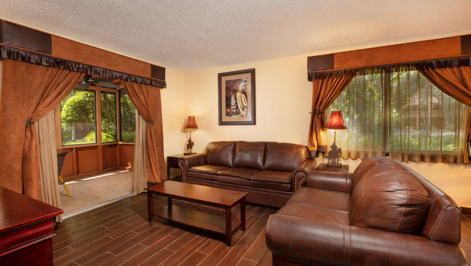 Living Area in our Lodge One-Bedroom Cottage |  Westgate River Ranch Resort & Rodeo | Westgate Resorts