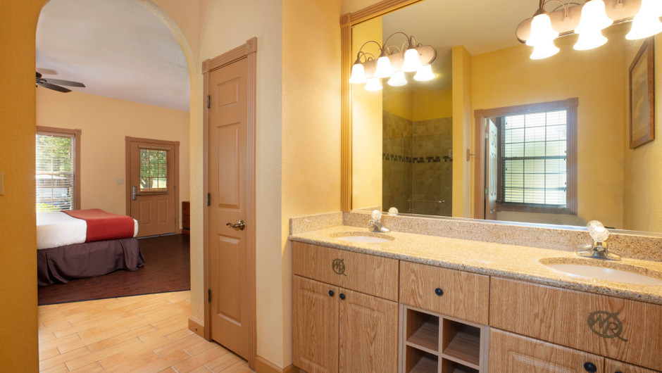 Bathroom in our Saddle Club One-Bedroom Grand Cabin |  Westgate River Ranch Resort & Rodeo | Westgate Resorts