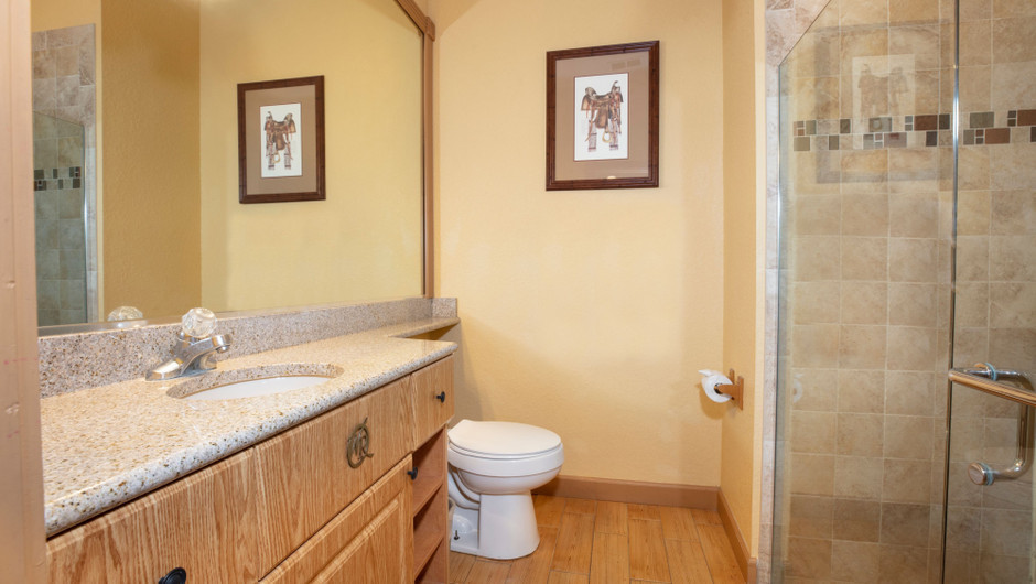 Bathroom in our Saddle Club Two-Bedroom Cabin - Westgate River Ranch Resort & Rodeo