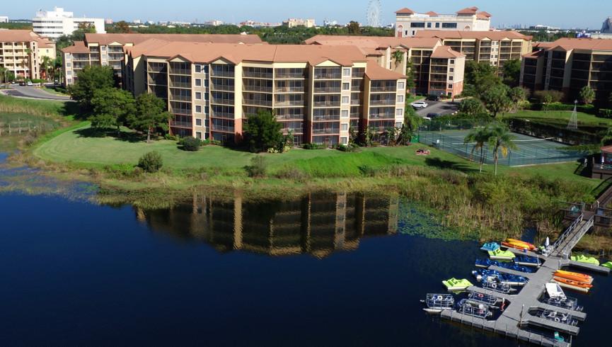 Aerial Photo of Orlando Florida Resort Westgate Lakes Resort & Spa highlighting boat dock and lakefront.