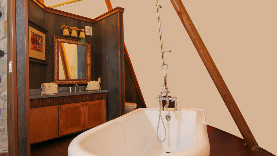 Old Fashioned Bathtub in Luxe Teepee -  Westgate River Ranch Resort & Rodeo