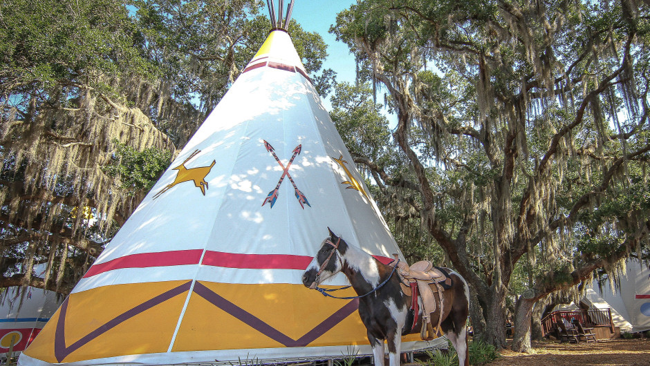 Horse outside of Luxe Teepees -  Westgate River Ranch Resort & Rodeo
