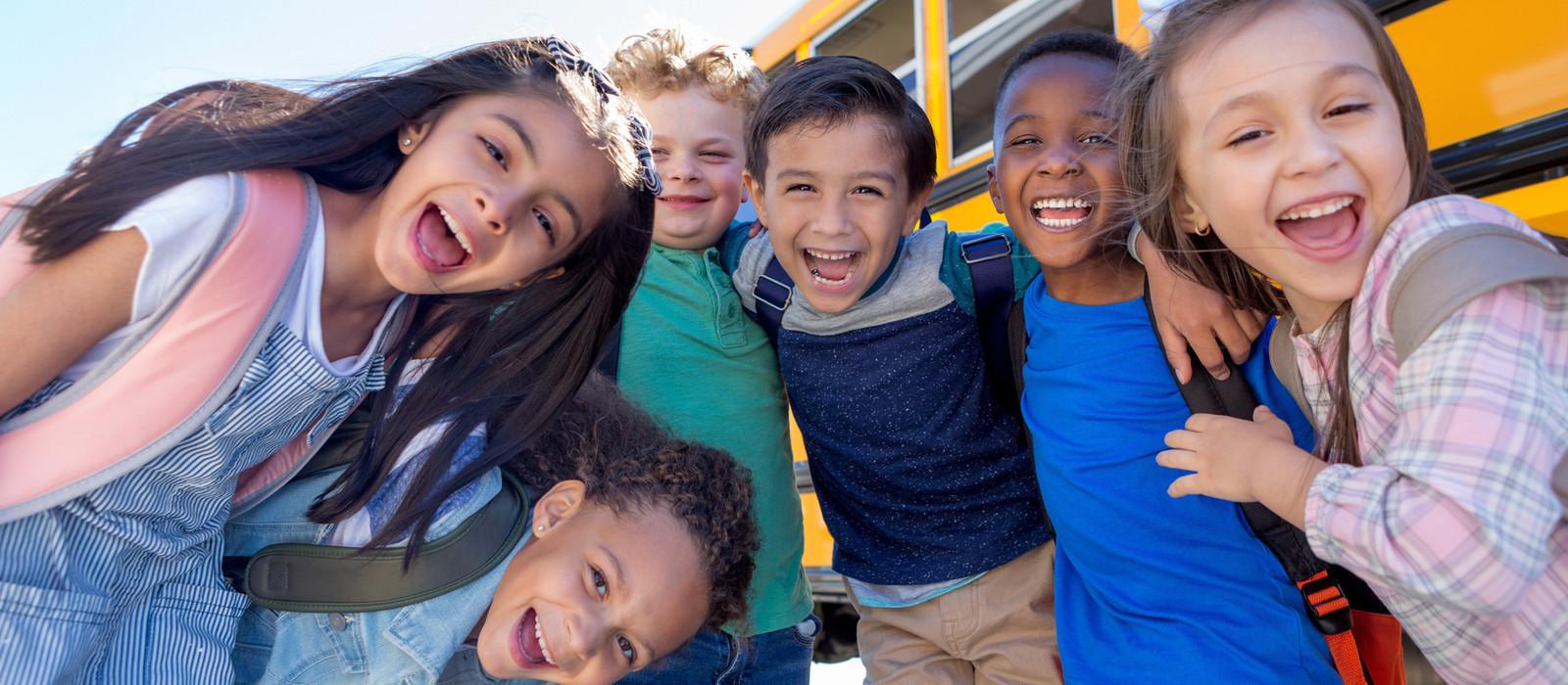Little Kids School Bus Pose   Westgate New York Grand Central