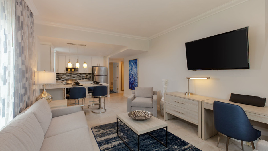 Living Area in our One-Bedroom Villas at our Miami Beach oceanfront hotels | Westgate South Beach Oceanfront Resort | Westgate Resorts