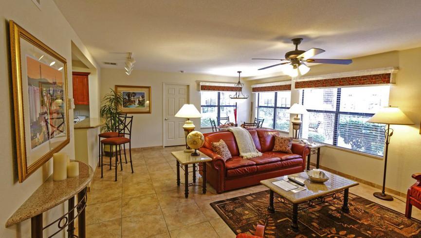 Living Area in the Two-Bedroom Deluxe Villa | Westgate Flamingo Bay Resort