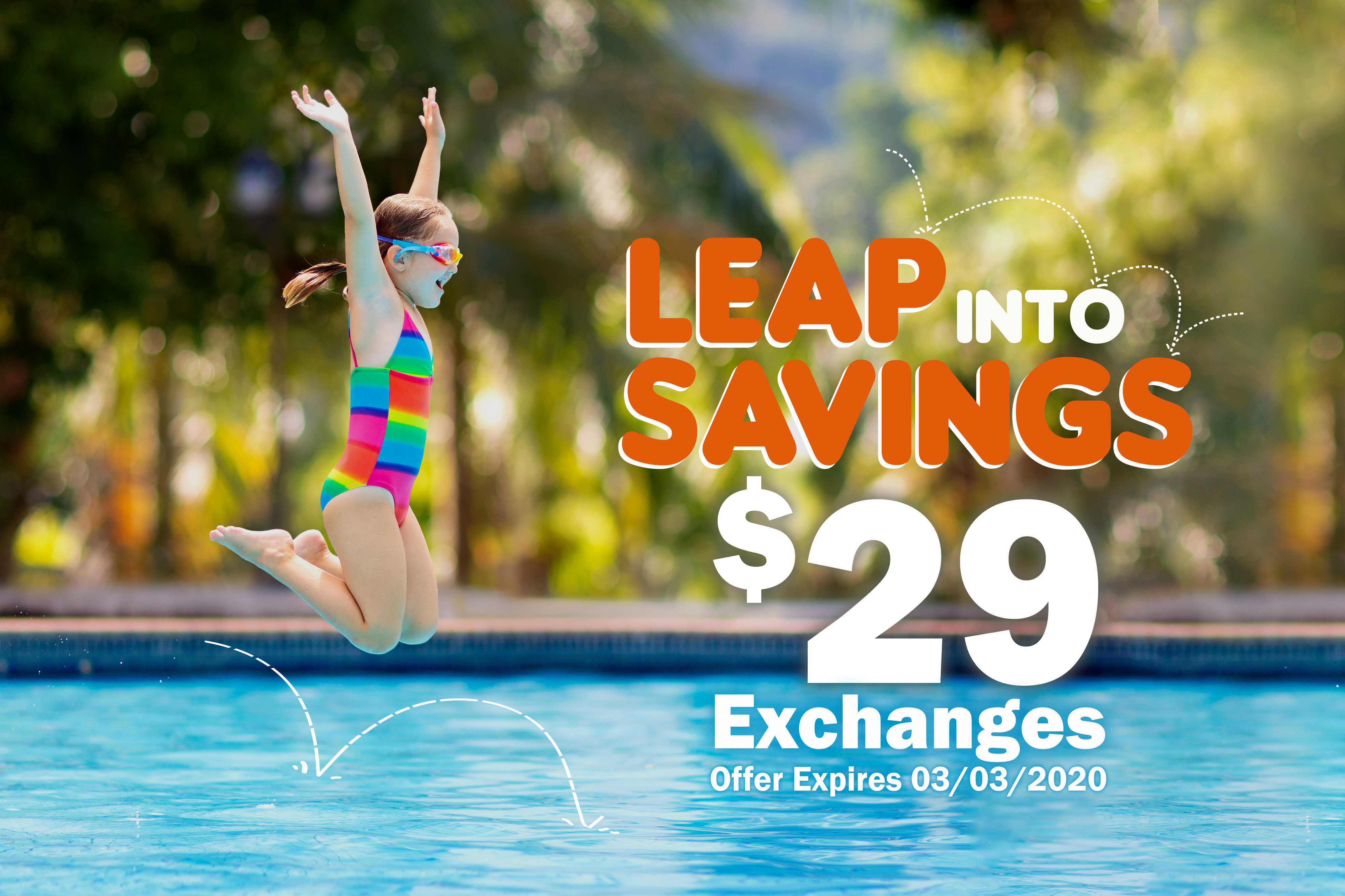 Girl jumping in pool | Leap Year 2020 Westgate Resorts Owners Special