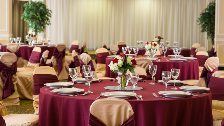 Ballroom with tables and décor at nearby River Terrace - Westgate Smoky Mountain