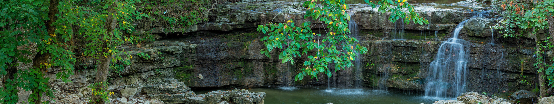 Scenic view of small waterfall